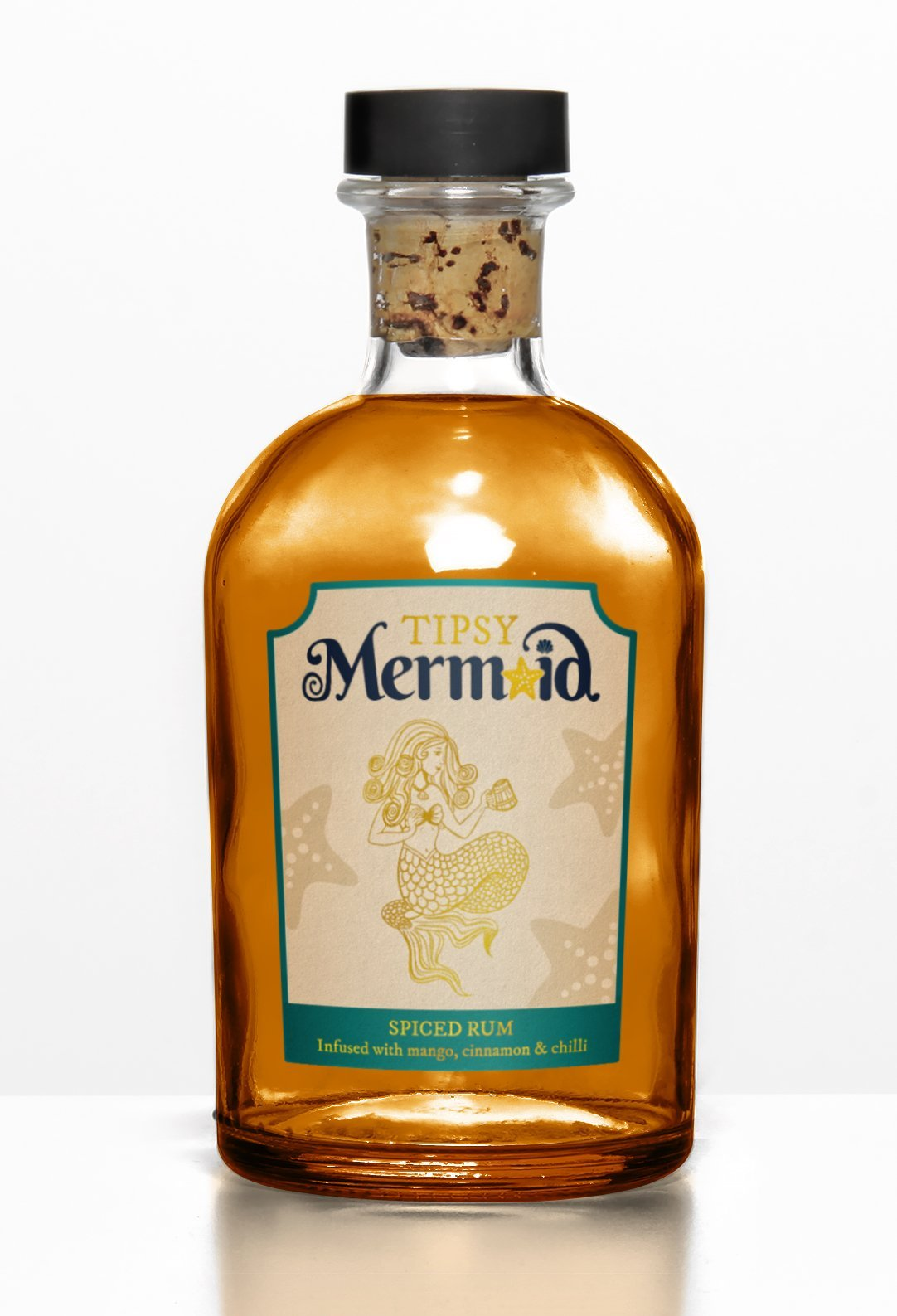 Tipsy Mermaid Rum Bottle branding mock up