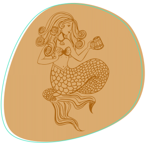 Tipsy Mermaid Rum Illustration